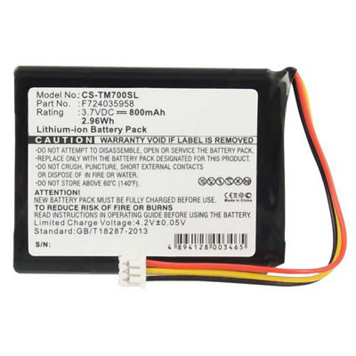 3.7V 800mAh Replacement Battery for TomTom CS-TM700SL CSTM700SL F724035958 ONE XL 325