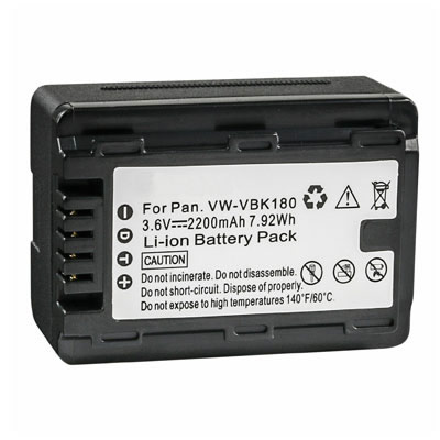 3.60V 2200mAh Replacement Battery for Panasonic VW-VBK360 VW-VBK360-K VW-VBK360GK