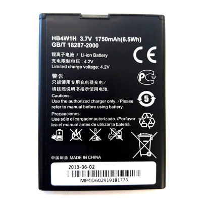 3.7V 1750mAh Replacement Battery for Huawei T-Mobile Prism II phone models HB4W1H
